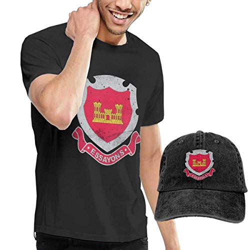 SOTTK Camisetas y Tops Hombre Polos y Camisas,t-Shirts, Tee's, US Army Retro Engineers Corps Men's Cotton T-Shirt with Round Collar with Adjustable Baseball Cap