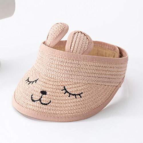 Yiyu Bunny Baby Hat Sommer Strohhut Folding Shade Baby Hat Cute Verstellbare Kinder Jungen Hut Sun Hat Weiß x (Color : Pink)