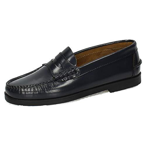 MADE IN SPAIN 210 Castellanos DE Piel NIÑO Zapatos MOCASÍN Marino 35