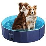 Pidsen Hundepool Swimmingpool PVC tragbare Faltbare Hunde Katzen Bad Wanne Badewanne Waschbad Haustier Schwimmbad Wasser Teich (120 * 30cm, Hellblau Marineblau)