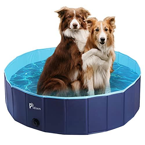 Pidsen Hundepool Swimmingpool PVC tragbare Faltbare Hunde Katzen Bad Wanne Badewanne Waschbad Haustier Schwimmbad Wasser Teich (120 * 30cm, Hellblau + Marineblau)