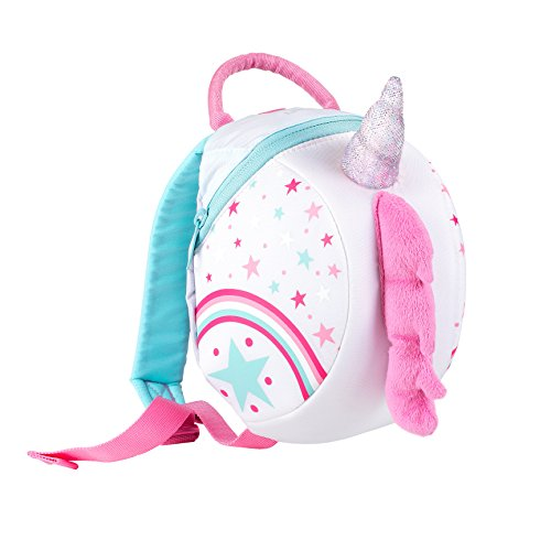 LittleLife Toddler Backpack with Safety Rein, Zaino Unicorno con Rinforzo di Sicurezza Unisex-Bambini, Bianco, Taglia Unica