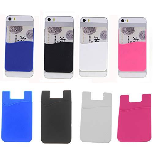 VEIREN - Tarjetero adhesivo para teléfono móvil (4 unidades, silicona, para la mayoría de los smartphones)
