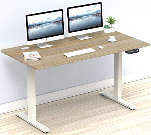 SHW 55-Inch Large Electric Height Adjustable Computer Desk, 55 x 28 Inches, Oak
