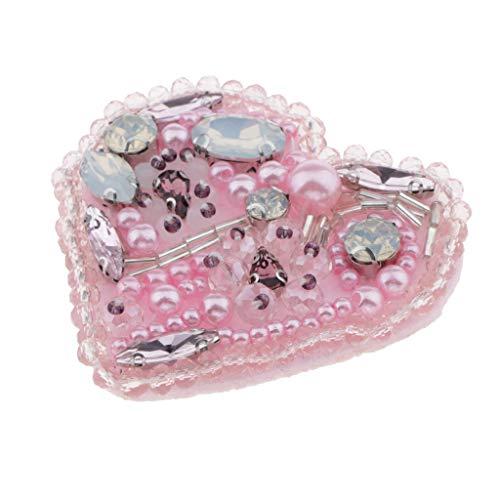 F Fityle Apliques de Cuentas de Corazón de Amor de Diamantes de Imitación, Parche Hecho a Mano, Manualidades de Costura, Bricolaje