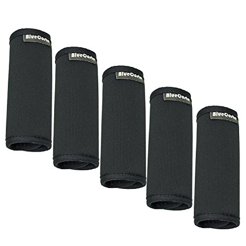 BlueCosto (Black, 5-Pack) Soft Neoprene Suitcase Handle Wraps Luggage Grip Travel Tags Labels 700036-BLK