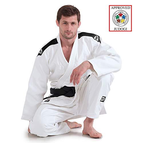 GreenHill Judogi Professional Aprobado IJF Judo Gi Homologado Uniforme Blanco Azul Kimono Nuevo Fitting Unisex (160 Slim Fit, Blanco con Banda en los Hombros Color Negro)