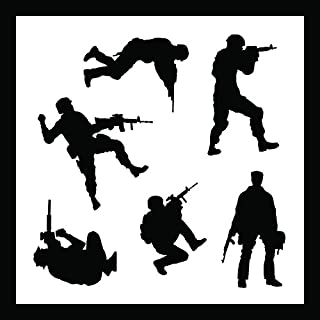 Auto Vynamics - STENCIL-SOLDIERS01-10 - Detailed Military Soldiers Stencil Set - Includes Standing & Crouching Silhouettes! - 10-by-10-inch Sheet - (1) Piece Kit - Single Sheet