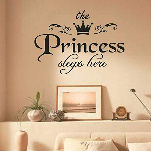 Princesa Duerme aquí Pegatina de Pared para niñas Habitación Baby Girl Dormitorio Fondo Pegatinas Art Decalas Wallpaper QQQNE
