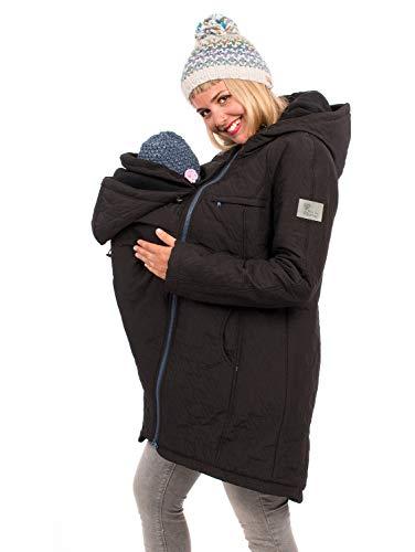 Viva la Mama 3in1 Kängurujacke Winter Tragemantel warm und gefüttert, Umstandswinterjacke Polaris schwarz - XXL