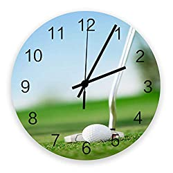 12 Inch Silent Round Wooden Wall Clock Golf Outdoor Recreational Sports Wall Clock, Non Ticking Battery Operated Quartz Home Decor Wall Clocks for Living Room/Kitchen/Office