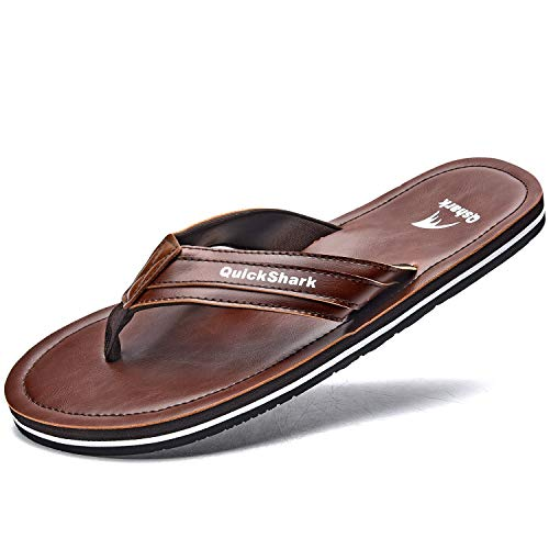 Quickshark Mens Flip Flops Leather Thong Sandals Arch Support Beach Slippers Brown Size 13