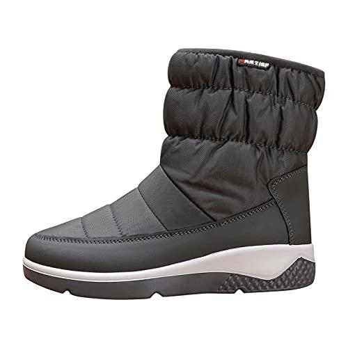 YWLINK Zapatos De AlgodóN Botas De Nieve Para Mujer Invierno Botas De Lluvia De Piel Botas Impermeables Para Caminar Senderismo Botas Cortas CáLidas Botas Con Plataforma Y Felpa (Gris-1, 38)