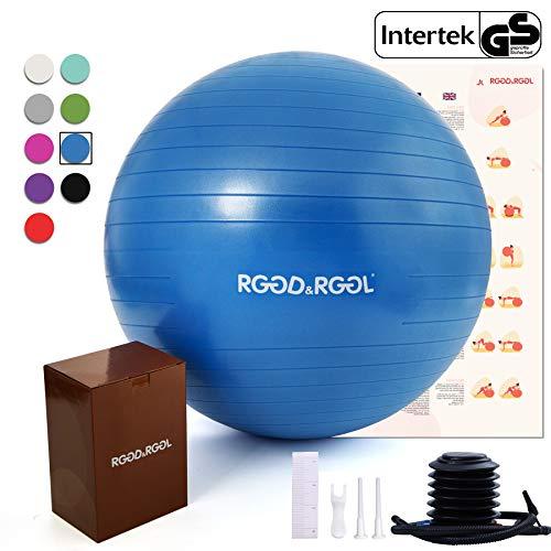 Rggd & rggl Yoga Ball, Balance Ball mit Pumpe, extra dick & Anti-Burst, umweltfreundliches PVC (geeignet für Büro, Home & Physiotherapie), dunkelblau, 30inch