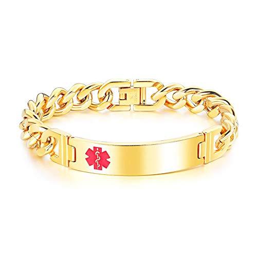 ZHHAOXINJE Sterke Titanium Staal Armband, Aangepaste Gegraveerde Medische Alert Ketting/armband, Gepersonaliseerde Id Medische Allergie Sieraden (met Geschenkdoos) voor Mannen Vrouwen