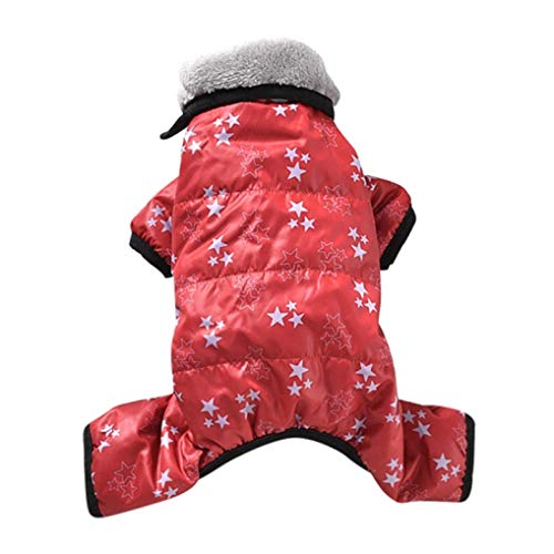 AMURAO Winter Warme Daunenjacke Winddichte Hundekleidung Overall Welpe Verdicken Overall Hundeausstattung