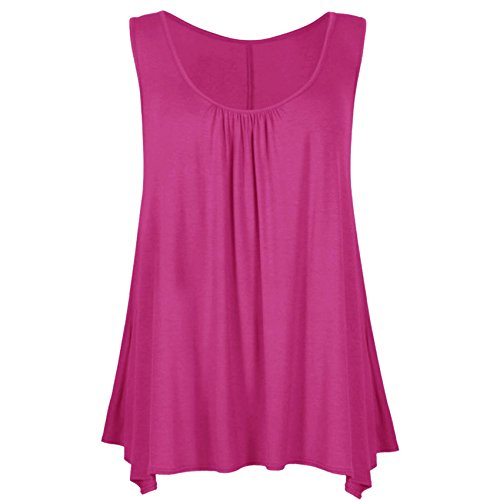 Home ware outlet Ladies svasato Hem Vest Top Womens Raw Edge increspato Slouch tunica top 8-26 (UK S/M (8-10), fucsia)