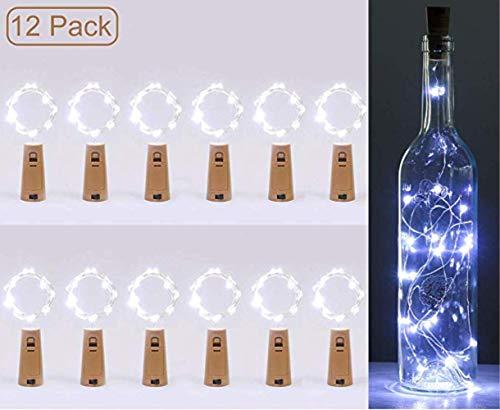 Wijnfles, feeënlichtsnoer, met kurk, 12 batterijen, 2 m, koperdraad, 20 micro lampen, Gloria