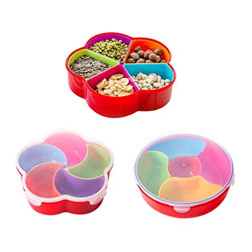boodtag Kunststoff Lebensmittel Container mit Deckel Snacks Boxen Spender mit herausnehmbaren Fächern Küche Zubehör Flower shape with fan shape compartments