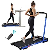 FYC Under Desk Treadmill - 2 in 1 Folding Treadmill for Home, Electric Workout Foldable Portable Compact Running Machine Remote Control 12 Programs for Exercise, Installation Free (Blue)