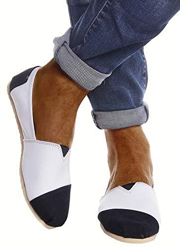 Leif Nelson Hombres Zapatos Alpargatas LN-101 Azul Oscuro Y Blanco 44 EU