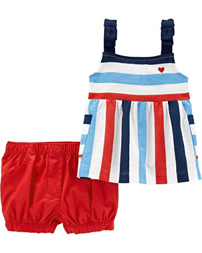 Carter's Baby Girls' 2-Piece 4th of July Tank & Short Set Patriotic- Multi (9 Months)