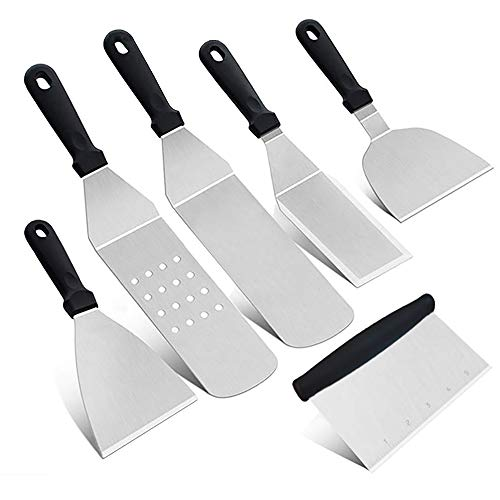 LXGKREL Grillwender Burger Wender Grillspachtel Grillbesteck Set Schaufeln Schaber Pfannenwender für Plancha Teppanyaki