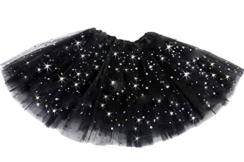 Rok - tule - meisje - zwart - rok - carnaval - 2 lagen - dans - ballerina - accessoires - tutu - kleding - een maat - 3/8 jaar - idee verjaardag kerstcadeau glitter
