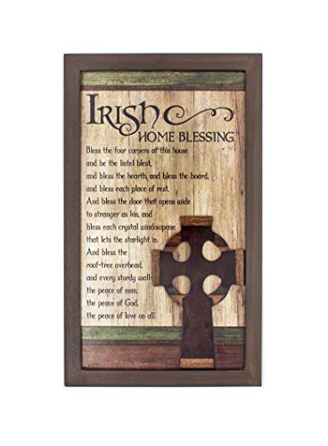 Irish Home Blessing 15' x 9' wood Wall Plaque- with beautiful Claddagh cross and meaningful prayer hanging wall decorative plaque (Includes St Patrick Laminated Holy Card)