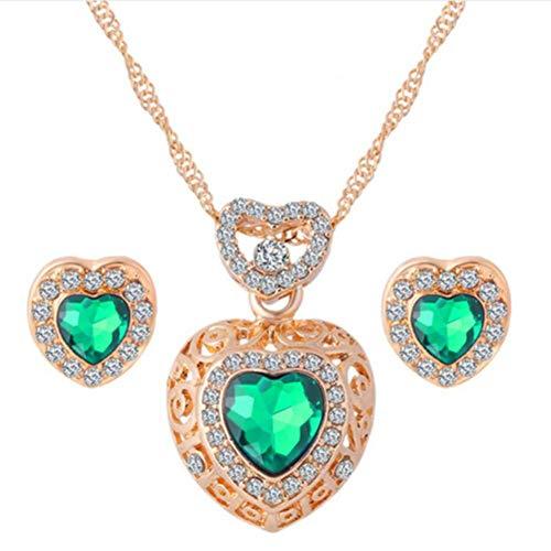 MSYOU Elegant Women Earring Creative Heart Shaped Green Diamond Pendant Earrings Necklace Jewelry Accessories