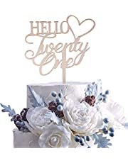 Rose Gold Hello Twenty-one Cake Topper Dirty 21 for Happy 21st Birthday Wedding Anniversary Hello 21 Finally Party Decoration Supplies(Rose Gold 21)