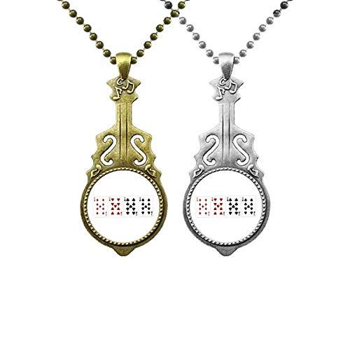 9 Herz-Spaten Diamant Club Muster Musik Gitarre Anhänger Schmuck Halskette Anhänger Paar
