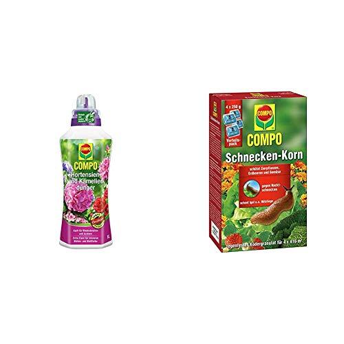 COMPO Hortensien- und Kameliendünger für alle Morbeetpflanzen im Haus, 1 Liter & Schnecken-Korn, Streugranulat gegen Nacktschnecken im Vorteilspack, 4x250 g (4x416 m²)