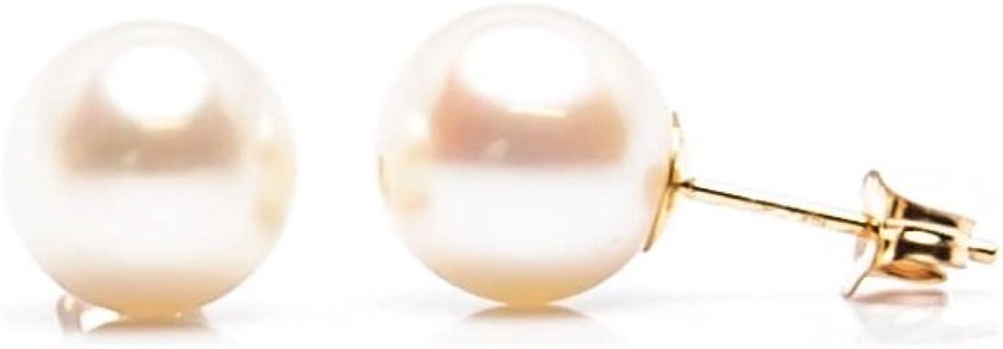 14K Real Gold White Pearl Ball Stud Earrings