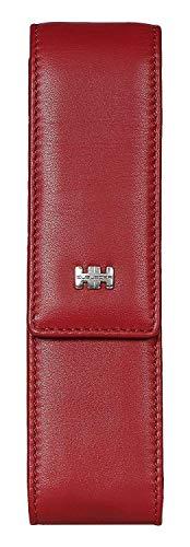 Elbleder Schreibgeräte-Etui Leder Rot für 2 Stifte Echt-Leder mit Magnet-Verschluss für Damen und Herren hochwertig Stift-Halter Stift-Etui Stift-Tasche