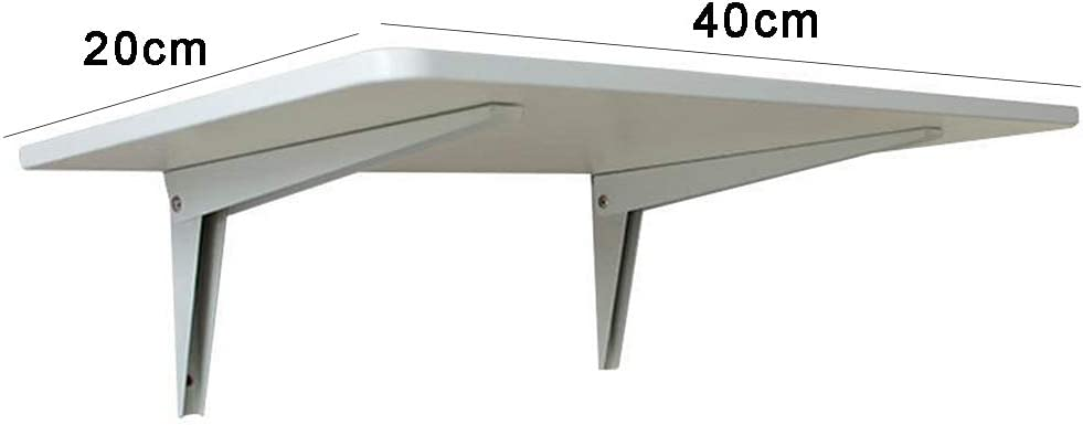 Folding table Wall-mounted Shelf 40cm//50cm//60cm Outdoor Balcony Table Home Bedroom Living Room Kitchen white