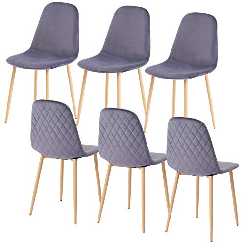SHOWVISION Dining Chairs Set of 6, Velvet Fabric Cover Upholstered Seat with Oak Wooden Effect Metal Legs Kitchen Living Room Lounge Office Restaurant Reception (Charcoal, 6pcs)