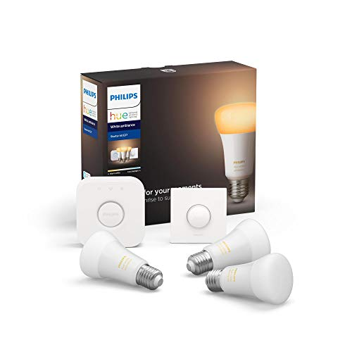 Philips Hue Kit de démarrage Ampoules LED Connectées White Ambiance E27 Pack de 3, Pont et télécommande Smart Button Fonctionne avec Alexa