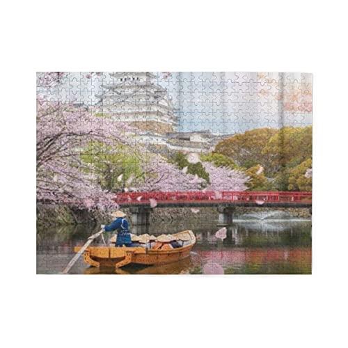HASENCIV Puzzle da 500 pezzi Rosa Himeji-Schloss mit schöner Kirschblüte in der Frühlingssaison bei Hyogo nahe Osaka Japan ist berühmt per adulti Jigsaws per Giochi Famiglia Decorazione Domestica
