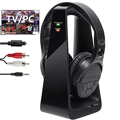 Funkkopfhörer Für Fernseher Kabellos Kopfhörer mit Mikrofon Geräuschunterdrückung mit 2.4Ghz Transmitter 150FT Reichweite Optical AUX RCA Anschluss für TV PC Phone MP3