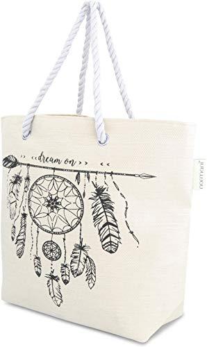 normani Große Strandtasche Badetasche Beachbag für Damen Weekend Bag Farbe Beige Dreams