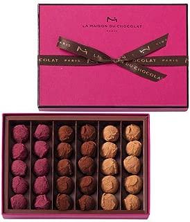 フランス製高級チョコレート La Maison du Chocolat クリスマスコレクションチョコレートトリュフ (30粒入(プレーン・キャラメル・カシス×各10))