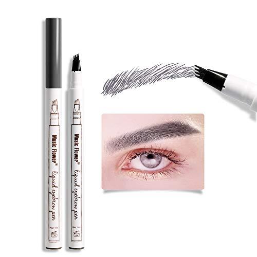 Liquid Eyebrow Pen, Music Flower Microblade pen for eyebrows, 4 Tips Fine Sketch Tattoo Brow Durable Smudge-proof Waterproof Natural Brow Tint (Dark grey)