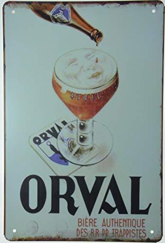Metall-Blechschilder Orval Biere Trappist Belgische Belgien Bierdose Retro Plakette Wanddekoration für Bars, Restaurants, Cafés, Pubs, 20,3 x 30,5 cm