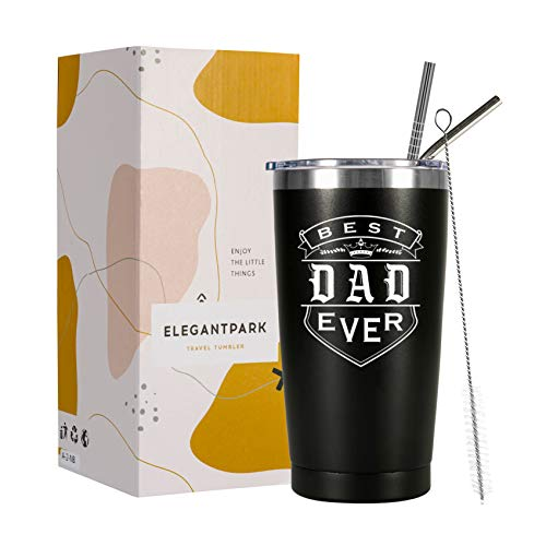 ElegantPark Best Dad Ever Tumbler for Dad Birthday Gifts from Daughter Son Wife Dad Cups Father's Day Christmas Gifts for New Dad Insulated 20 OZ...