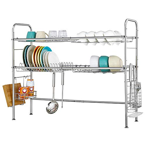 HAITRAL , 2 Tier Over The Sink Rack, Silver