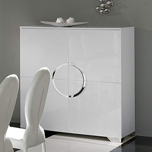Kasalinea - Aparador alto blanco lacado 4 puertas Design Isaac