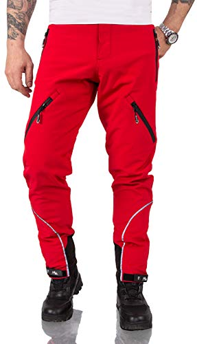 Rock Creek Herren Softshell Hose Cargohose Outdoorhose Wanderhose Herrenhose Wasserdicht Skihose Arbeitshose Winterhose Trekkinghose H-233 Rot M