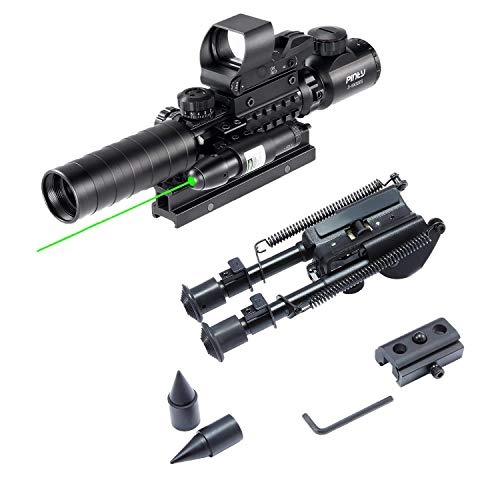 Pinty Rifle Scope 3-9x32 Rangefinder Illuminated Reflex Sight 4 Reticle Green Dot Laser Sight & 7 inch to 9.5 inch Rifle Bipod with Spikes, Works w Picatinny Rails