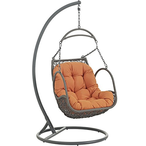 Modway Arbor Wicker Rattan Outdoor Patio Porch Lounge Hanging Swing Chair Set with Stand in Orange